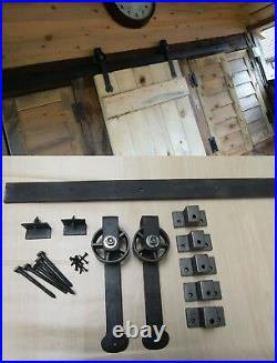 Wrought Iron Rustic Vintage Style Barn Strap Hanging Sliding Door Kit Gear