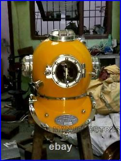 Yellow Antique Scuba Divers Vintage Style Helmet Morse Diving Decor Solid Gift
