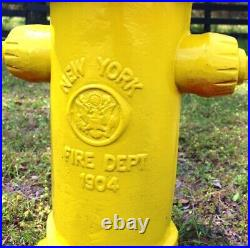 Yellow Fire Hydrant Heavy Full Size Antique Replica Dated 1904 Vintage Style